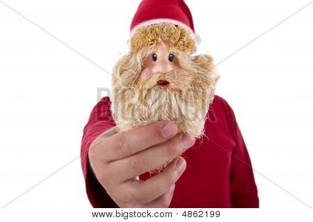 Man In Red Shirt Holding A Santa Claus Toy