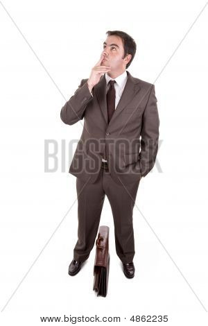Businessman With Brown Classic Case - Thinking Expression . Isolated On White
