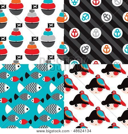 Seamless pirate marine theme illustration background pattern set in vector