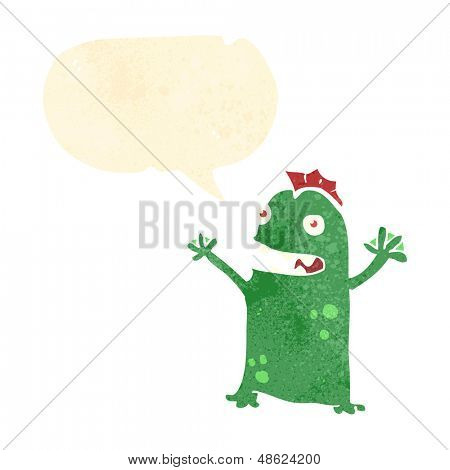 retro cartoon happy swamp monster with speech bubble