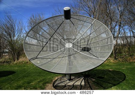 Large Gray Satellite Dish