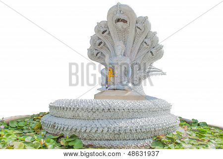 Buddhist Statue With Naga Isolated On A White Background.