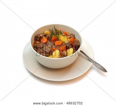 Beef Stew On White Background