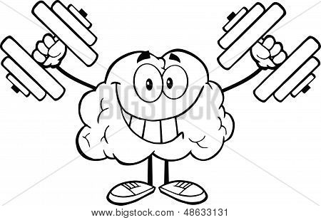 Outlined Smiling Brain Character Training With Dumbbells
