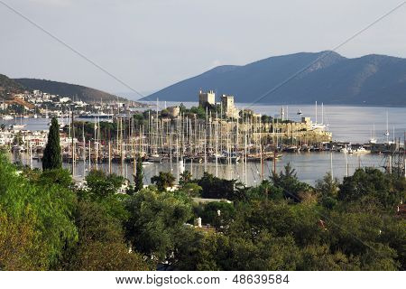 Bodrum Castle with a great view of Bodrum, Turkey.