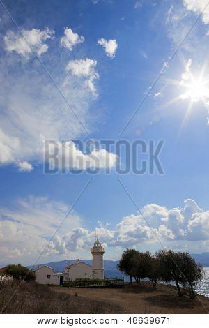 Historical lighthouse in Bodrum Turgutreis, Turkey.