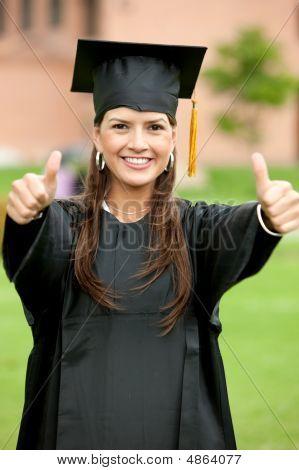 Thumbs Up Graduation Woman