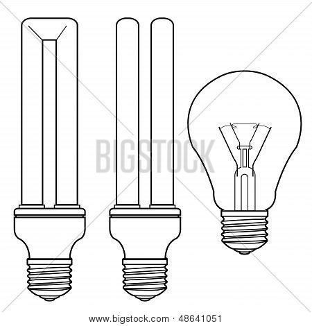 Bulb And Fluorescent Bulb.eps