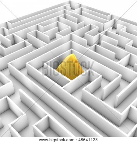 Hi-res 3D image of a maze with cheese as prize.