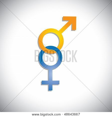 Colorful Male & Female Sex(gender) Icons Or Signs- Vector Graphic
