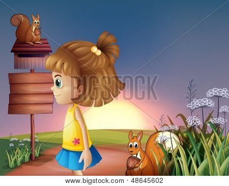 Illustration of a young girl and the two squirrels near the empty signage and the mailbox