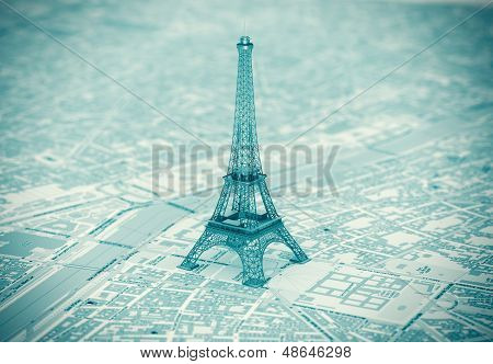Eiffel Tower On The Map Of Paris