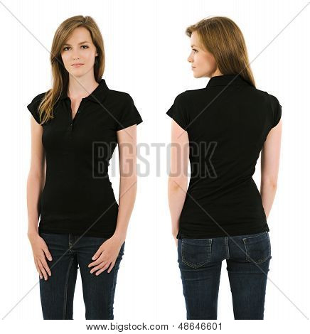 Young Brunette Woman With Blank Black Polo Shirt