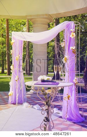Beautiful Wedding Gazebo In Summer Park