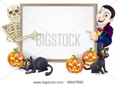 Halloween Sign With Skeleton And Dracula