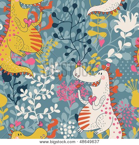Cute seamless pattern with funny dragons in love with little birds. Vector floral texture with dinosaur in the garden. Holiday background with happy monsters.