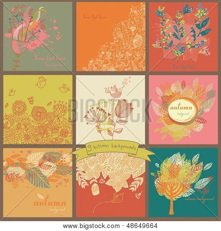 Set of nine autumn backgrounds with leafs, trees, flowers and birds. Place for text. Seasonal card designs.