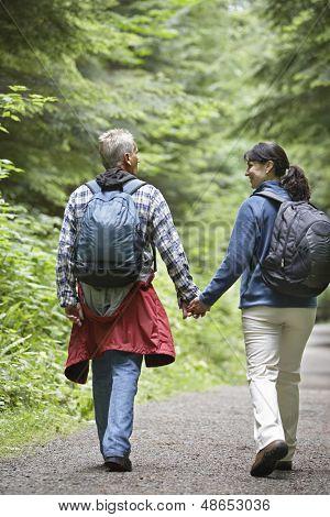 Vista trasera de longitud completa de un par para caminar en el camino forestal en medio de frondosos árboles