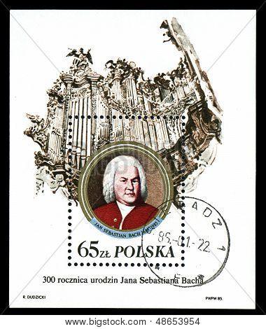 Poland - Circa 1985: A Stamp Printed In Poland, Shows Johann Sebastian Bach And Organ, Circa 1985