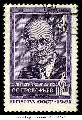 Soviet Union - Circa 1981: A Stamp Printed By The Soviet Union Post Depicts S.s. Prokofyev, A Russia