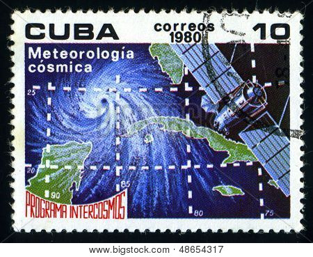 Cuba - Circa 1980: A Stamp Printed In The Cuba Shows Meteorology, Intercosmos Program, Space Program