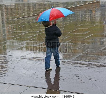 Lonely Kid With Umbrella