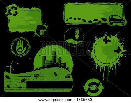 Green And Black Grunge Eco Design Elements