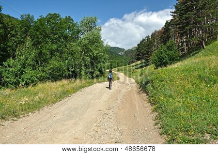 Woman trekking on a winding dirt lane, road ascending a mountain