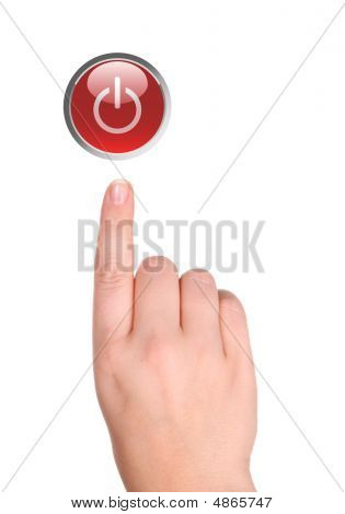 Hand Presses Red Button