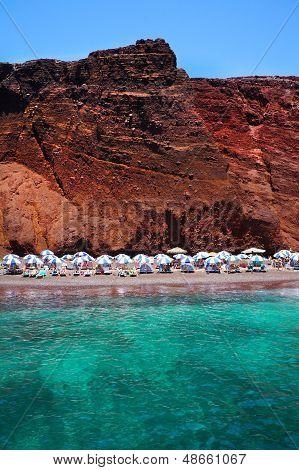 Seascape And Red Beach Of Santorini Island, Greece