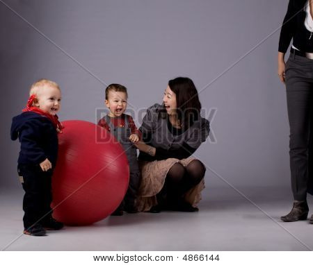 Two Toddler Boys And Mom