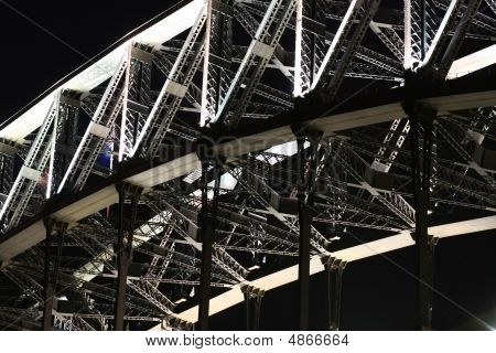 Detail Of Sydney Harbour Bridge At Night.