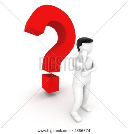 3D Human Standing Beside Question Mark