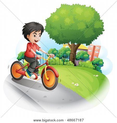 Abbildung eines Knaben mit ein rotes Hemd, Biken auf weißem Hintergrund