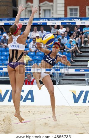 12/08/2011 LONDON, ENGLAND,  April Ross (USA) (R)  & Lisa Rutledge (USA) (L) during the FIVB International Beach Volleyball tournament, at Horse Guards Parade, Westminster, London.