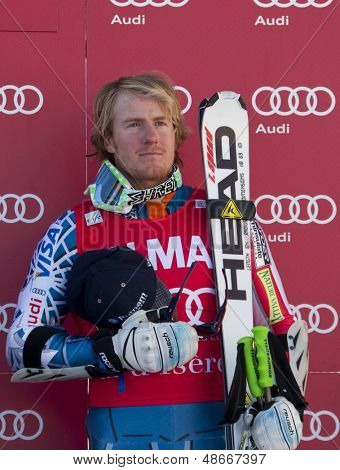 VAL D'ISERE FRANCE. 11-12-2010. LIGETY Ted (USA) is the winner of during the prize giving ceremony for the FIS alpine skiing world cup giant slalom race on the Bellevarde race piste Val D'Isere.