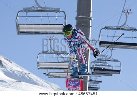 VAL D'ISERE FRANCE. 18-12-2010. Leanne Smith (USA) takes to the air during the women's downhill race at the FIS Alpine skiing World Cup Val D'Isere France.