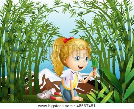 Ilustración de una chica con una pala verde arrodillado en la selva