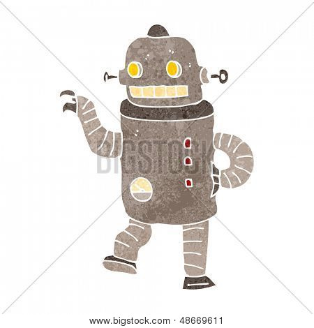 retro cartoon dancing robot