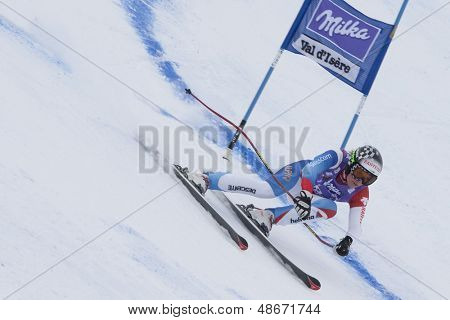 VAL D'ISERE FRANCE. 19-12-2010. Lara Gut (SUI) during the Super Giant Slalom section of the women's Super Combined race at the FIS Alpine skiing World Cup Val D'Isere France.