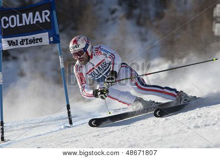 VAL D'ISERE FRANCE. 11-12-2010. DE TESSIERES Gauthier (FRA) attacks a control gate during  the FIS alpine skiing world cup giant slalom race on the Bellevarde race piste Val D'Isere.