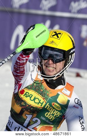 VAL D'ISERE FRANCE. 12-12-2010. HIRSCHER Marcel AUT  is the winner of the race reacts in the finish area of the alpine skiing world cup slalom race on the Bellevarde race piste Val D'Isere.