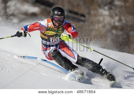 VAL D'ISERE FRANCE. 12-12-2010. VRABLIK Martin CZE attacks a control gate during the FIS alpine skiing world cup slalom race on the Bellevarde race piste Val D'Isere.
