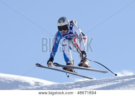 VAL D'ISERE FRANCE. 18-12-2010. Francesca Marsaglia (ITA) takes to the air during the women's downhill race at the FIS Alpine skiing World Cup Val D'Isere France.