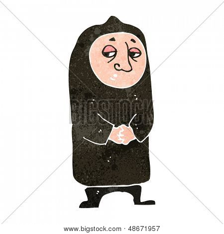retro cartoon monk