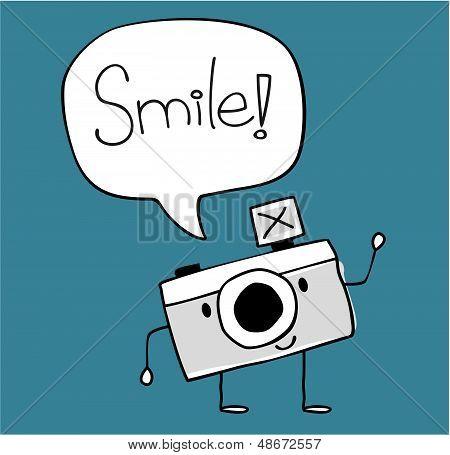 cute camera smile vector