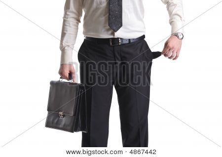 A Businessman Showing An Empty Pocket