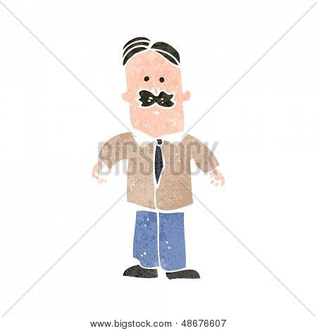 retro cartoon sensible man with mustache