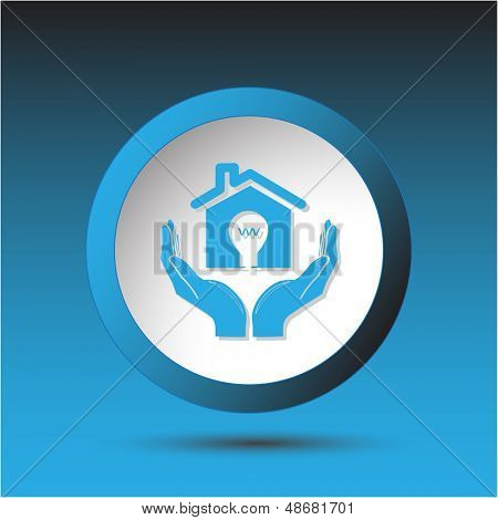 economy in hands. Plastic button. Vector illustration.