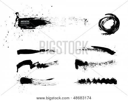 Black abstract brush strokes collection